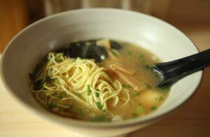 A noodle soup in a bowl